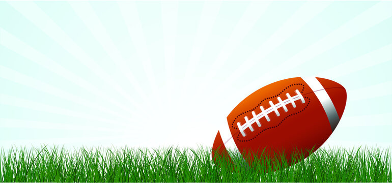 Cartoon, comic American football on green grass field. Sport team game cup. Rugby ball day. Funny super bowl weekend party. USA, sport finale, school games or on street. Vector summer background
