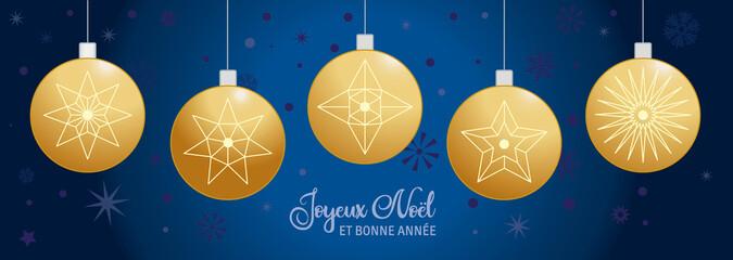Fototapeta Joyeux Noël et Bonne Année bleu et doree - Boules de Noël - Français obraz