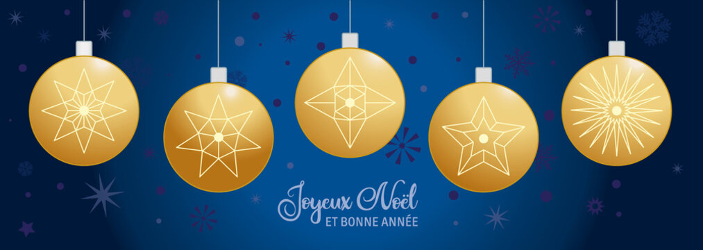 Joyeux Noël et Bonne Année bleu et doree - Boules de Noël - Français