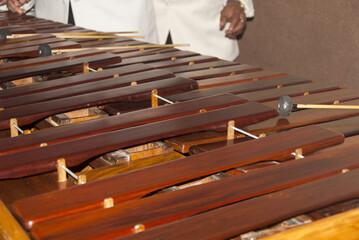 Close-up shot of a marimba or Hormigo keyboard. Guatemala. National instrument of Guatemala made wit