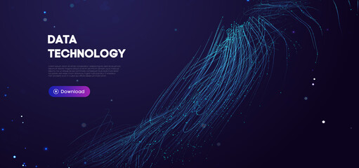 Fototapeta Big Data Technology vector illustration. Abstract blurred data business colored mesh. obraz