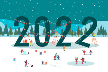 Obraz 2022 New Year winter park with people. family recreation, ice skating, sledding, snowball fight. Christmas scene - fototapety do salonu