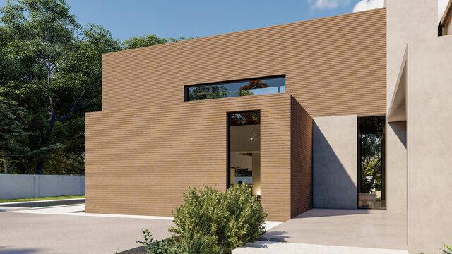 Big contemporary villa in dark wood, side view