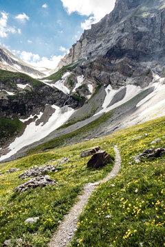 Wanderweg, Alpen im Wallis. Wandern zwischen Col Barberine und Col d'Emaney. Alpenpässeweg, über die schweizer Alpenpässe. Valais, Schweiz