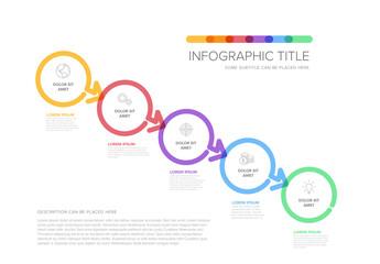 Fototapeta Minimalistic Thick Line Five Steps Circle Elements Layout obraz