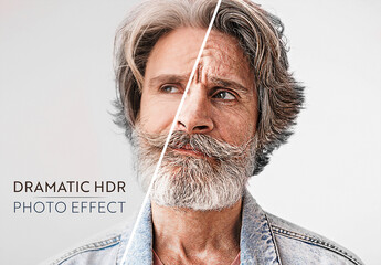 Obraz Dramatic Hdr Portrait Photo Effect Mockup - fototapety do salonu