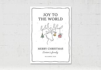 Obraz Christmas Flyer Card Printable with Reindeer Illustration - fototapety do salonu
