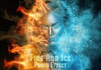 Obraz Burning Fire and Frozen Ice Photo Effect Mockup - fototapety do salonu