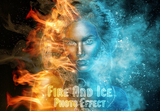 Burning Fire and Frozen Ice Photo Effect Mockup