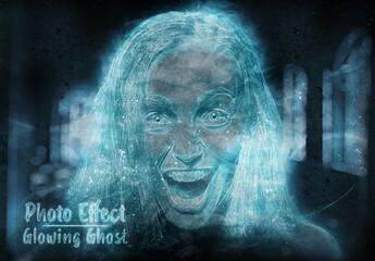 Obraz Ghost Glowing Blue Photo Effect Mockup - fototapety do salonu