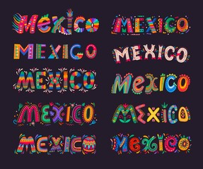 Fototapeta Mexico lettering elements. Mexican festive vector typography. Mexico letters with colorful pattern of flowers, leaves and swirls, Mexican fiesta, holiday, festival or carnival greeting card obraz