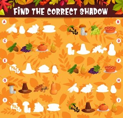 Obraz Find the correct shadow of thanksgiving harvest and autumn leaves kids matching game. Children logic vector educational cartoon worksheet, riddle for logical mind development with pie, hat and crop - fototapety do salonu