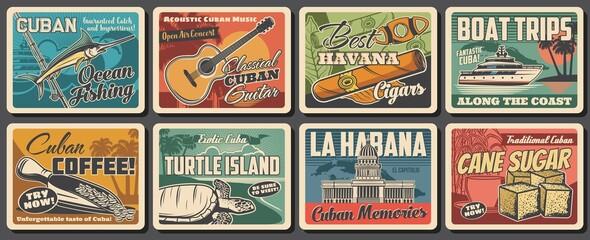 Obraz Cuba and Havana travel landmark retro posters. Vector Caribbean Sea beach, tropical palms, Cuban map, tobacco cigar, coffee and guitar, Havana capitol building, fishing boat, blue marlin and turtle - fototapety do salonu