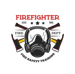 Fototapeta Firefighter tools heraldic icon. Vector fireman gas mask and crossed axes. Fire department and rescue service heraldry, safety and firefighting training isolated symbol obraz