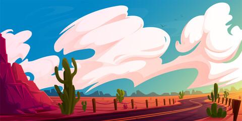 Obraz Arizona desert landscape with asphalt road, rocks and cacti. Wild west highway in American canyon, hot sand deserted land with orange mountains. Summer western background Vector cartoon illustration - fototapety do salonu