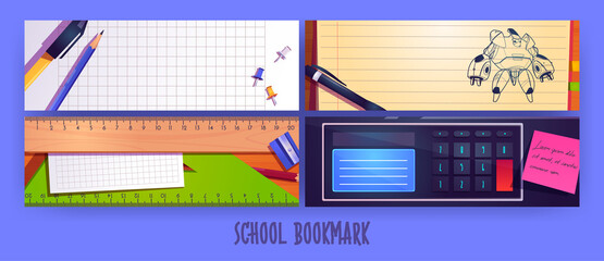 Fototapeta School bookmarks cartoon layout design with stationery pen sharpener, pencil and ruler on blank notebook pages, robot transformer drawing sketch, pins, sticky notes and calculator vector banners set obraz
