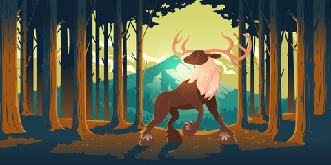 Fototapeta Deer in forest, wild animal, beautiful stag with antlers on nature background with trees and mountain peak. Wood landscape with majestic reindeer fairy tale character, Cartoon vector illustration obraz