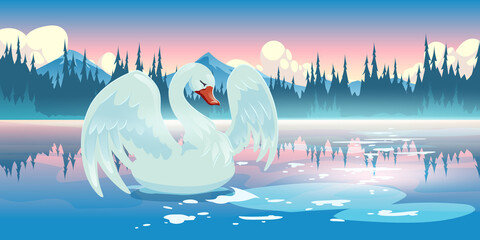Fototapeta Swan on lake morning nature landscape, scenery view with beautiful white bird swim at calm pond with mountains and conifers trees under pink sky with fluffy clouds. Cartoon parallax vector background obraz