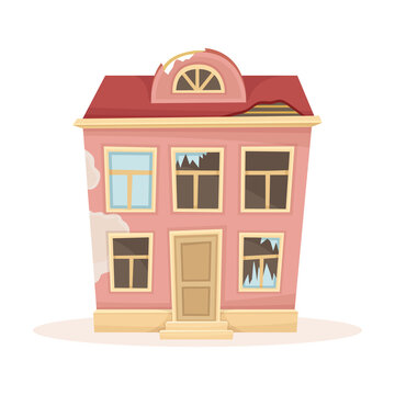 Abandoned house with broken windows. Facade of old two storey decaying building cartoon vector illustration