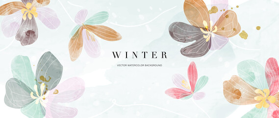 Obraz Watercolor art background vector. Wallpaper design with winter flower paint brush line art. Earth tone blue, pink, ivory, beige watercolor Illustration for prints, wall art, cover and invitation. - fototapety do salonu
