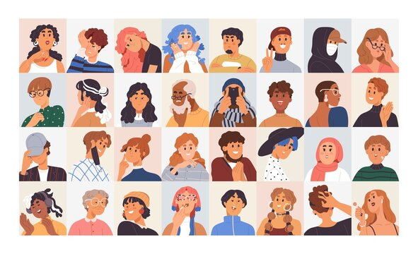 People avatars set. Modern head portraits of diverse men, women, girl and boy faces with expressive emotions, different facial expressions, moods and characters. Colored flat vector illustrations