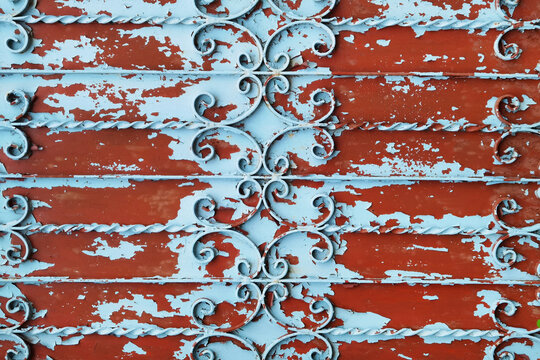 Old decorative wrought iron elements gate for background