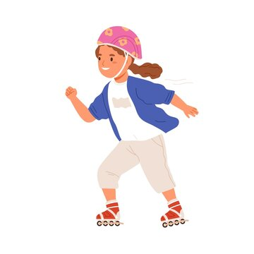 Girl skating on roller skates. Happy cute kid rolling on rollerskates. Child in helmet during summer sport activity with wheel shoes. Colored flat vector illustration isolated on white background