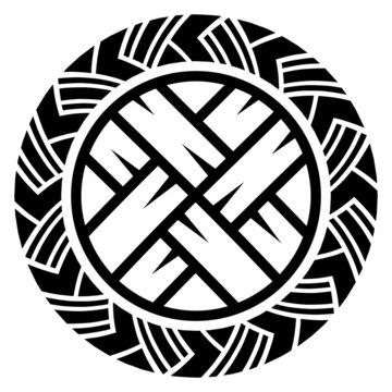 Scandinavian Viking design. Viking shield with northern runes and Old Celtic Scandinavian braided pattern
