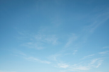 Fototapeta Summer blue sky cloud gradient fade white background. Beauty clear cloudy in sunshine calm bright winter air bacground. Wide vivid cyan landscape in environment day Outdoor horizon skyline spring wind obraz