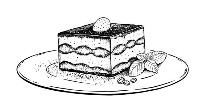 Vector illustration of Tiramisu on plate