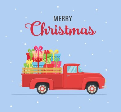 etro red pickup truck with christmas tree
