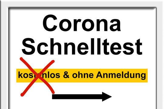 Corona Schnelltest kostet Geld