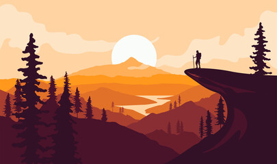 Fototapeta Man with backpack, traveller or explorer standing on top of mountain or cliff and looking on valley. Mountains landscape. Traveling or hiking or exploring or tourism concept. Vector illustration. obraz