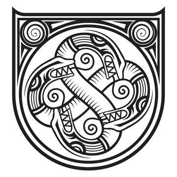 Scandinavian Viking design. Ancient decorative dragon in celtic style, scandinavian knot-work illustration