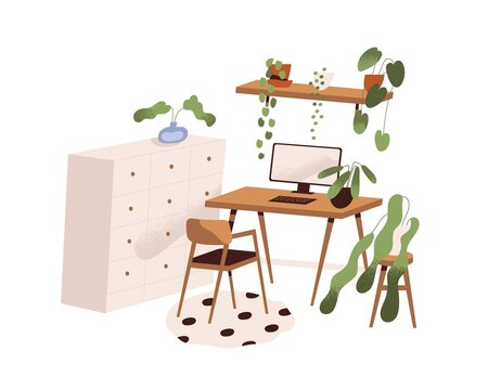 Modern home interior design. Scandinavian room with cozy stylish workplace, computer, table, chair, cabinet and house plants in pots. Colored flat vector illustration isolated on white background