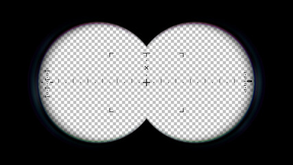Binoculars POV frame. Binocular aim sight, spy view overlay and look through the lenses of binoculars vector illustration