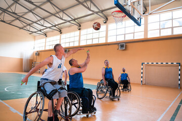 Obraz a photo of basketball teams with disabilities with the selector in the big hall before the start of the basketball game - fototapety do salonu