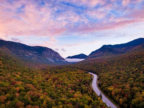 Fall Foliage In Franconia Notch, New Hampshire