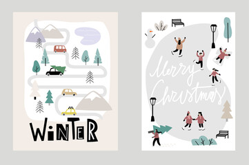 Obraz hello winter Christmas cards vector. People ice skating and little town. - fototapety do salonu