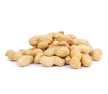 Heap of peanuts in shell isolated on white background