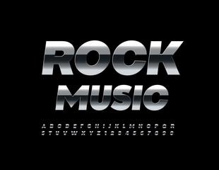 Fototapeta Vector steel Sign Rock Music. Reflective metallic Font. Chrome Alphabet Letters and Numbers set obraz