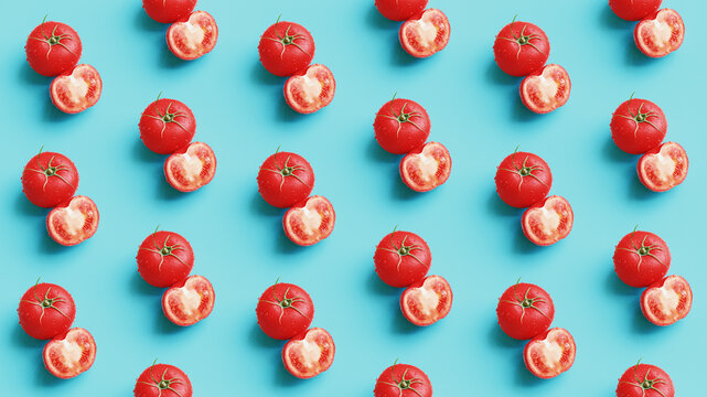 Red tomatoes pattern on a light blue background, flat lay. Top view. 3d rendering