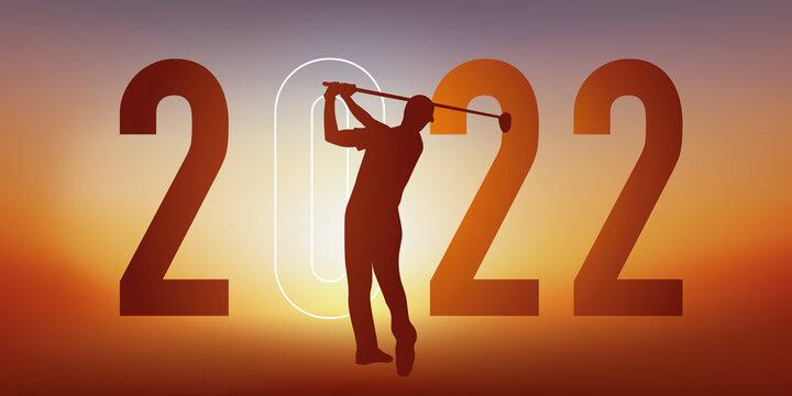 Concept du sport sur le thème du golf pour une carte de vœux 2022, montrant un golfeur faisant un swing.