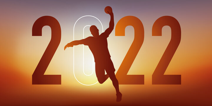 Concept du sport sur le thème du handball pour une carte de vœux 2022, montrant un handballeur qui s'élance pour marquer au but.