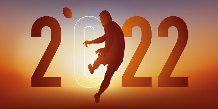 Concept du sport sur le thème du rugby pour une carte de vœux 2022, montrant un rugbyman qui s'élance pour transformer un essais.