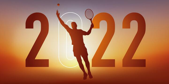 Concept du sport sur le thème du tennis pour une carte de vœux 2022, montrant un tennisman faisant un service.