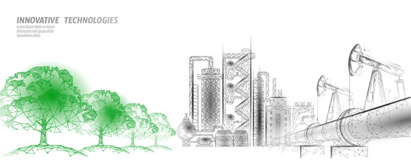 Fototapeta Oil pollution problem concept. Oil gas petroleum environmental disaster pipeline refinery complex. Industry air soil waste toxic solution 3D vector illustration obraz