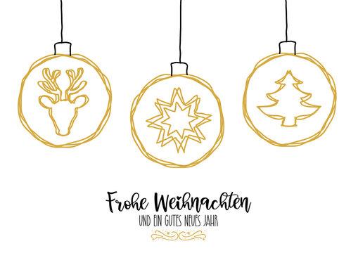 Weihnachtskarte mit Illustration und deutschem Text - Weihnachtskugel mit dekorativen weihnachtlichen Motiven