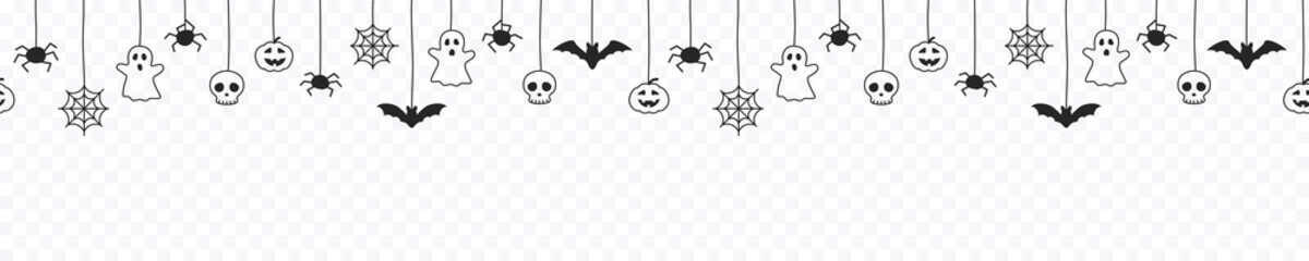 Obraz Happy Halloween seamless banner or border with black bats, spider web, ghost and pumpkins. Vector illustration party invitation isolated on transparent background - fototapety do salonu