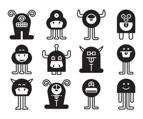 Obraz monster character icons vector set - fototapety do salonu